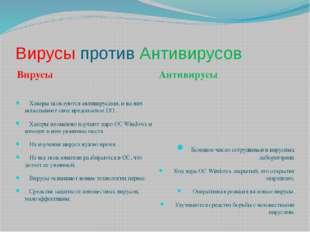 Вирусы против Антивирусов Вирусы Антивирусы Хакеры пользуются антивирусами, и