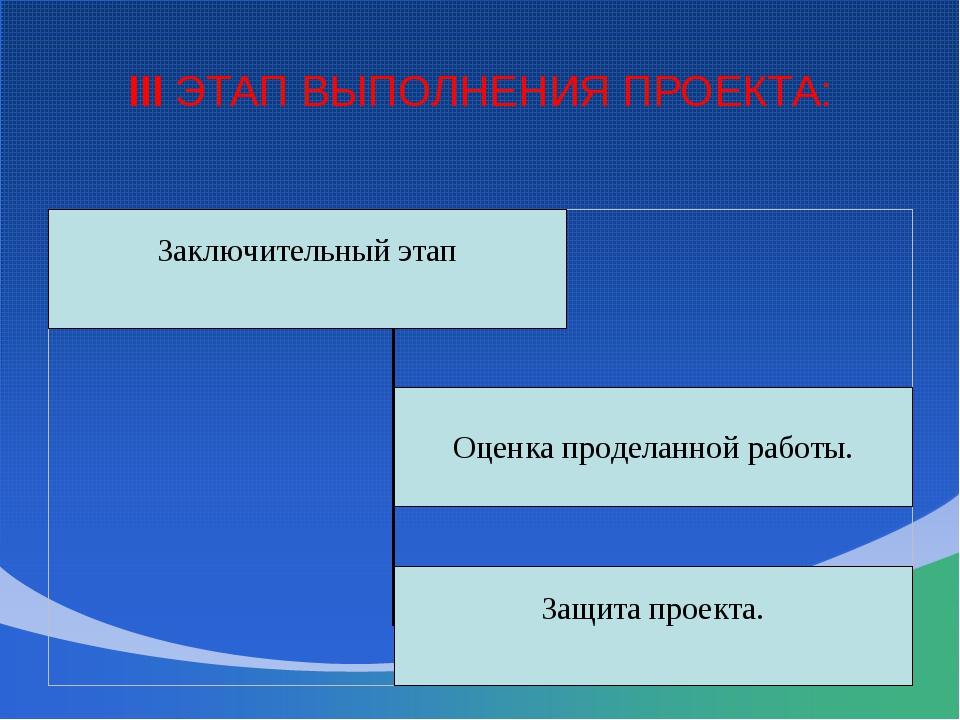III ЭТАП ВЫПОЛНЕНИЯ ПРОЕКТА: