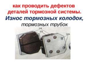 как проводить дефектов деталей тормозной системы. Износ тормозных колодок, то