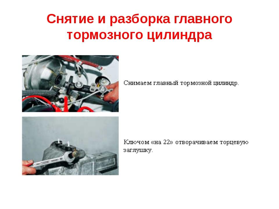 Снятие и разборка главного тормозного цилиндра