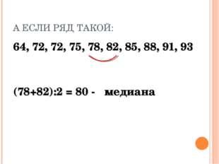 А ЕСЛИ РЯД ТАКОЙ: 64, 72, 72, 75, 78, 82, 85, 88, 91, 93 (78+82):2 = 80 - мед
