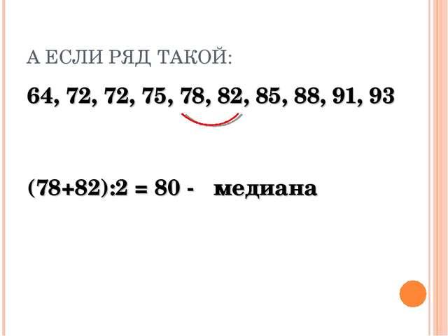 А ЕСЛИ РЯД ТАКОЙ: 64, 72, 72, 75, 78, 82, 85, 88, 91, 93 (78+82):2 = 80 - мед...