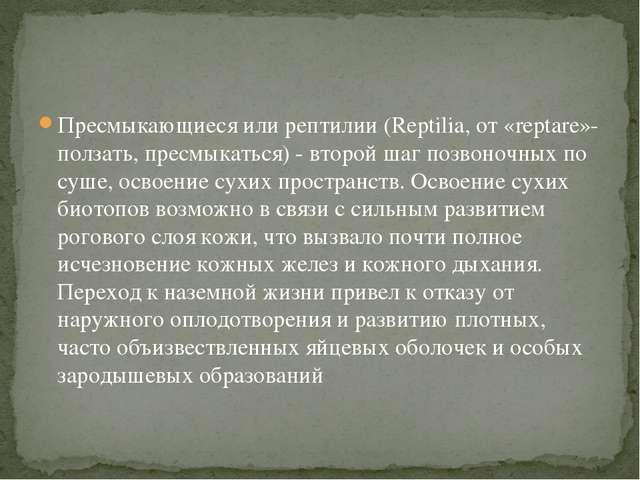 Пресмыкающиеся или рептилии (Reptilia, от «reptare»- ползать, пресмыкаться) -...