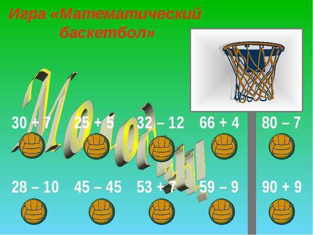 Игра «Математический баскетбол» 30 + 725 + 532 – 1266 + 480 – 7 28 – 10...