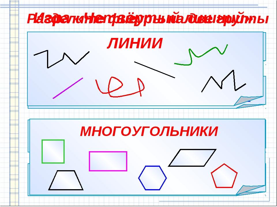 Игра «Четвёртый лишний» Разделите фигуры на две группы МНОГОУГОЛЬНИКИ ЛИНИИ