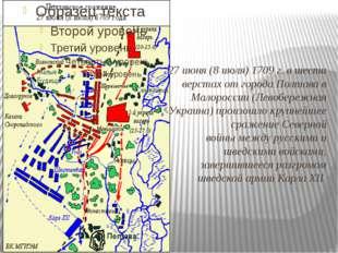 27июня(8июля)1709г. в шести верстах от города Полтава в Малороссии (Лево