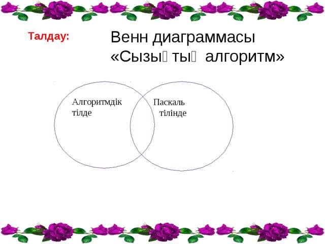 Талдау: Венн диаграммасы «Сызықтық алгоритм» Алгоритмдік тілде Паскаль тілінде