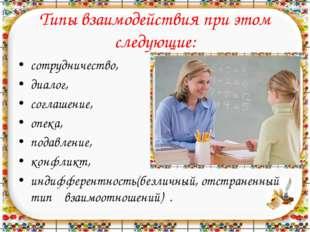 Типы взаимодействия при этом следующие: сотрудничество, диалог, соглашение, о