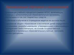 Организация обучения и воспитания Организация учебного процесса в рамках ФГОС