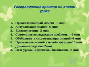 Распределение времени по этапам урока Организационный момент -1 мин Актуализа