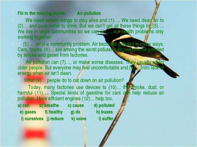 Fill in the missing words: Air pollution We need certain things to stay alive...