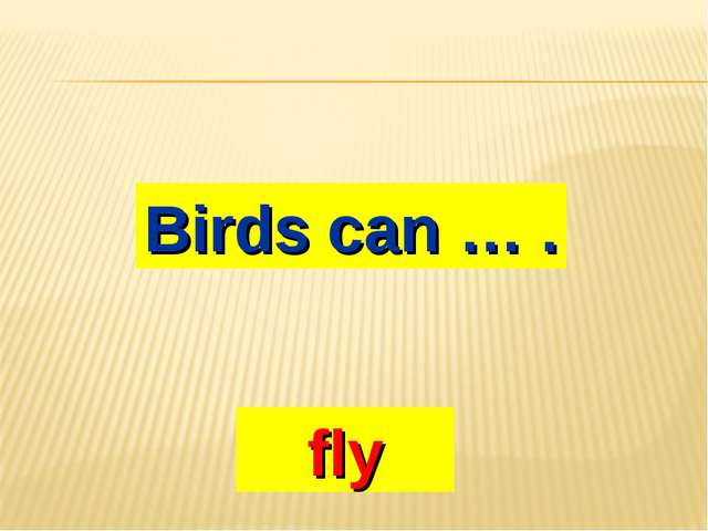 Birds can … . fly