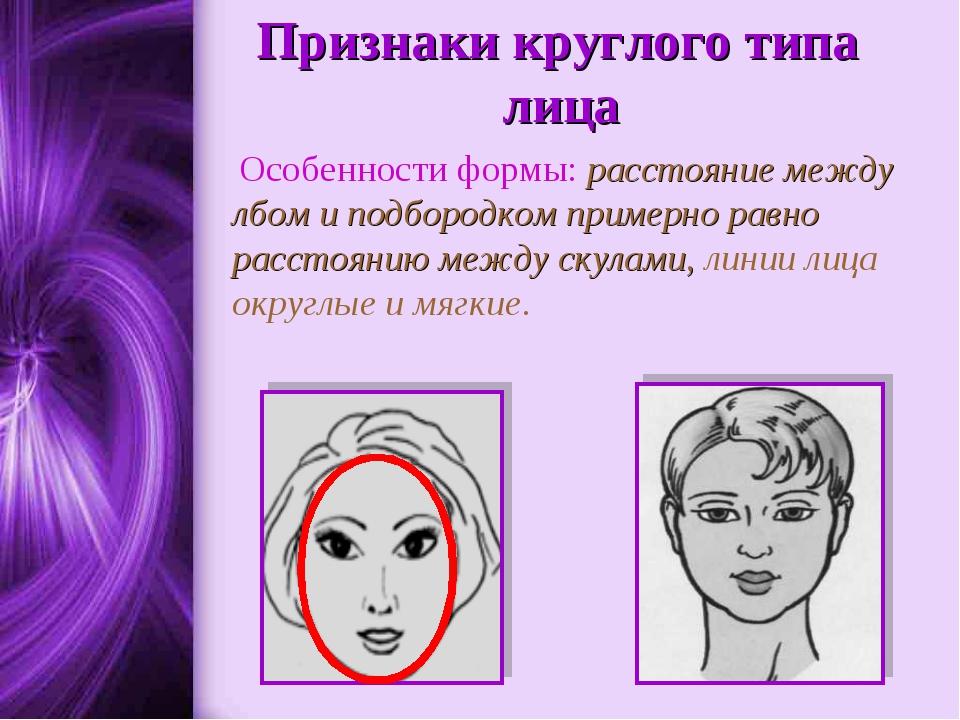Признаки круглого типа лица Особенности формы: расстояние между лбом и подбо...