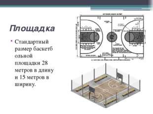 Площадка Стандартный размербаскетбольной площадки 28 метров в длину и 15 мет