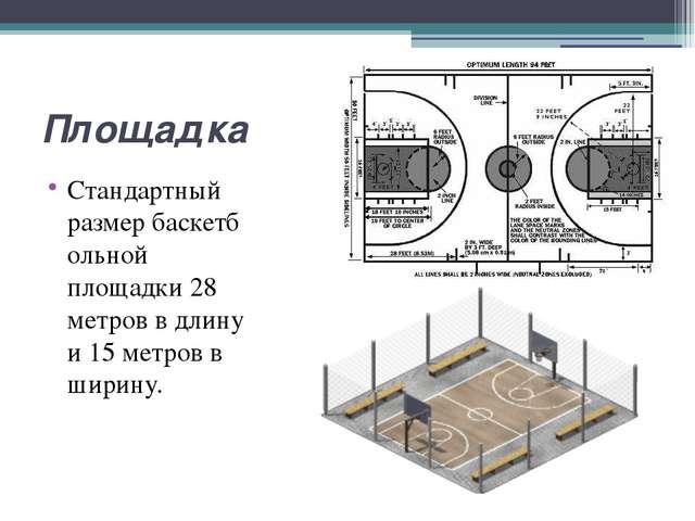 Площадка Стандартный размербаскетбольной площадки 28 метров в длину и 15 мет...