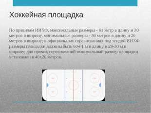 Хоккейная площадка По правилам ИИХФ, максимальные размеры - 61 метр в длину и