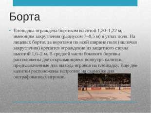 Борта Площадка ограждена бортиком высотой 1,20–1,22 м, имеющим закругления (р