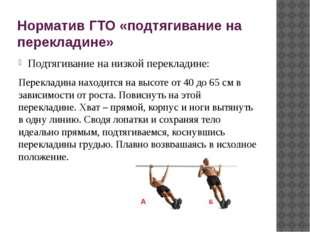 Норматив ГТО «подтягивание на перекладине» Подтягивание на низкой перекладине