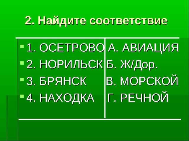 2. Найдите соответствие 1. ОСЕТРОВО А. АВИАЦИЯ 2. НОРИЛЬСК Б. Ж/Дор. 3. БРЯНС...