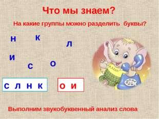 Что мы знаем? с л о н и к На какие группы можно разделить буквы? с л н к о и