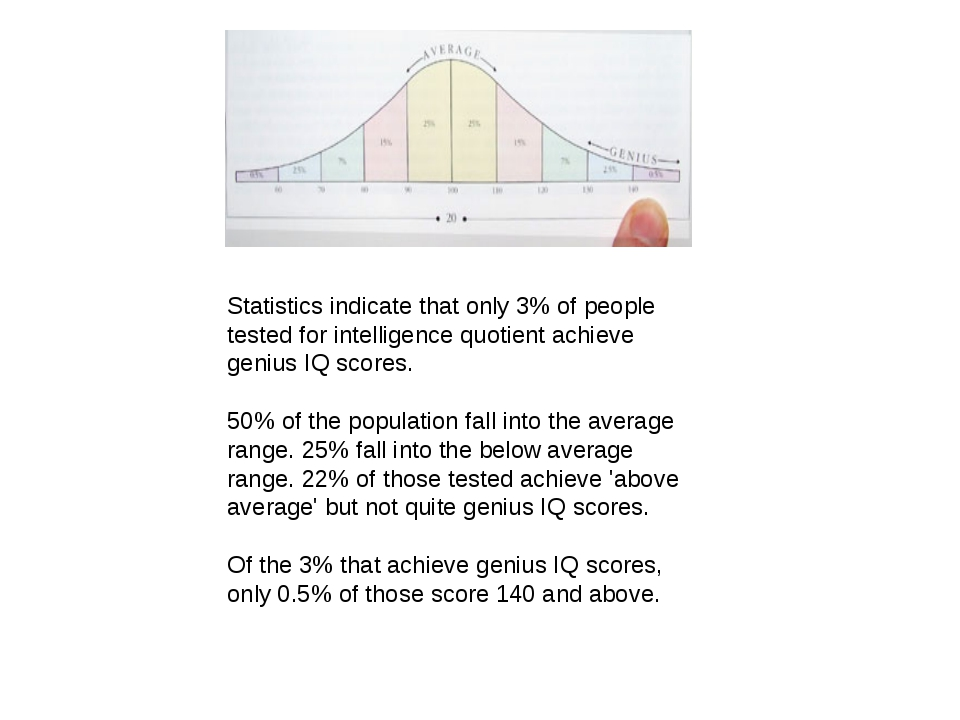 Statistics indicate that only 3% of people tested for intelligence quotient a...