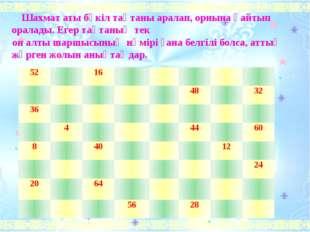 Шахмат аты бүкіл тақтаны аралап, орнына қайтып оралады. Егер тақтаның тек он