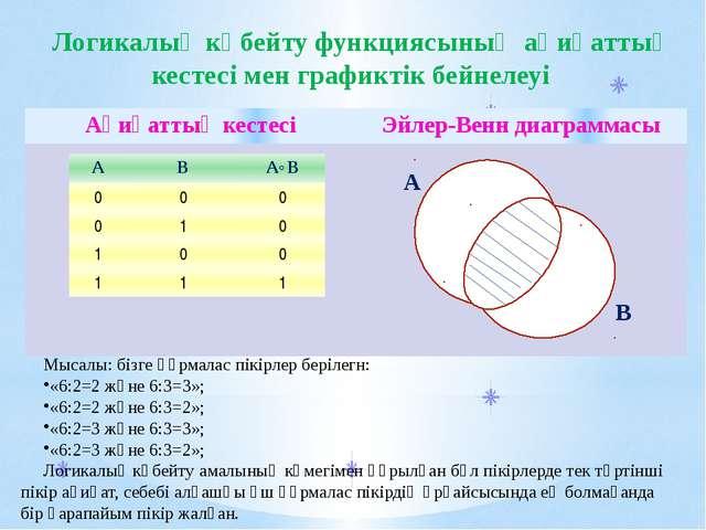 Мысалы: бізге құрмалас пікірлер берілегн: «6:2=2 және 6:3=3»; «6:2=2 және 6:3...