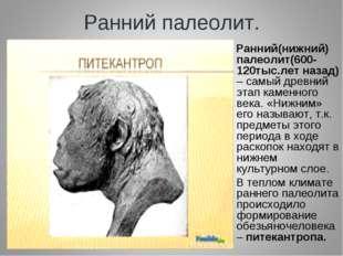 Ранний палеолит. Ранний(нижний) палеолит(600-120тыс.лет назад) – самый древни