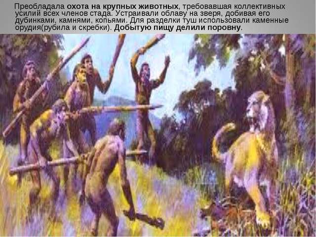 Преобладала охота на крупных животных, требовавшая коллективных усилий всех...