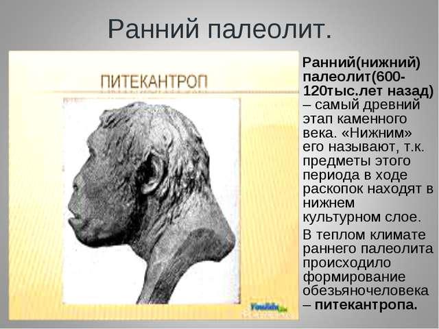 Ранний палеолит. Ранний(нижний) палеолит(600-120тыс.лет назад) – самый древни...