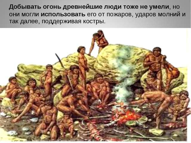 Добывать огонь древнейшие люди тоже не умели, но они могли использовать его...