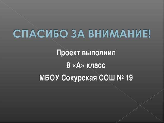 Проект выполнил 8 «А» класс МБОУ Сокурская СОШ № 19