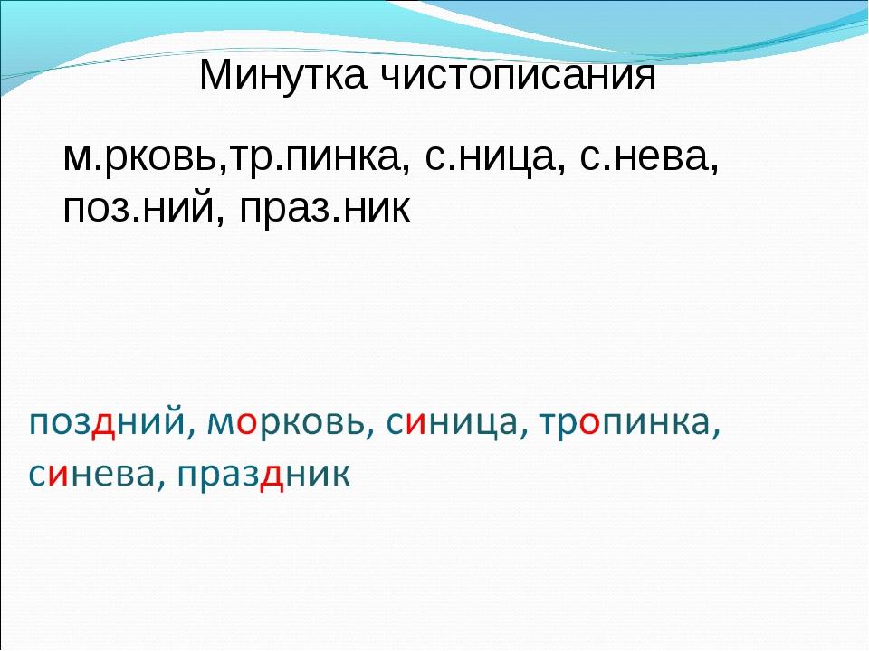 Минутка чистописания м.рковь,тр.пинка, с.ница, с.нева, поз.ний, праз.ник