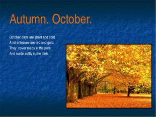 Autumn. October. October days are short and cold. A lot of leaves are red and