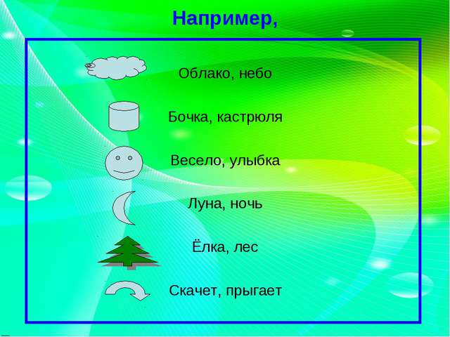 Например, Облако, небо Бочка, кастрюля Весело, улыбка Луна, ночь Ёлка, лес Ск...