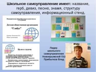 Школьное самоуправление имеет: название, герб, девиз, песню, знамя, структуру