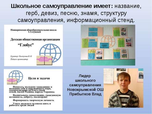 Школьное самоуправление имеет: название, герб, девиз, песню, знамя, структуру...