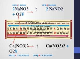 нитрат натрия нитрит натрия 2NaNO3 t 2 NaNO2 + O2↑ Сa(NO3)2 t Сa(NO3)2 + O2↑