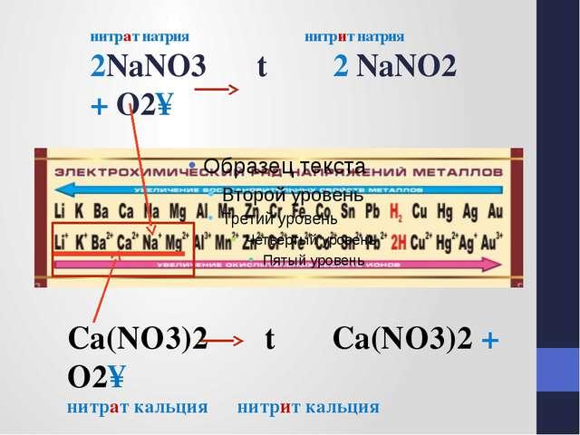 нитрат натрия нитрит натрия 2NaNO3 t 2 NaNO2 + O2↑ Сa(NO3)2 t Сa(NO3)2 + O2↑...