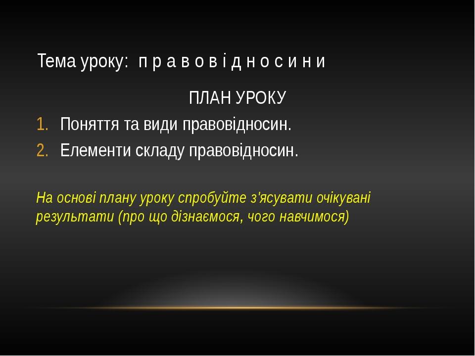 Тема уроку: п р а в о в і д н о с и н и ПЛАН УРОКУ Поняття та види правовідно...