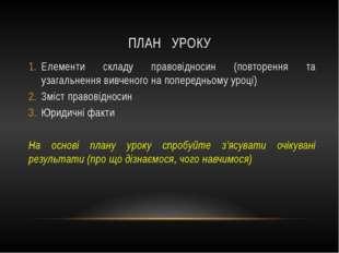 ПЛАН УРОКУ Елементи складу правовідносин (повторення та узагальнення вивченог