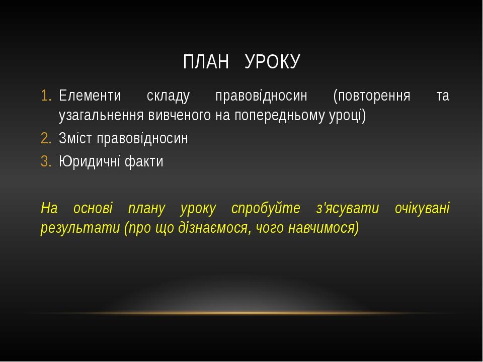 ПЛАН УРОКУ Елементи складу правовідносин (повторення та узагальнення вивченог...