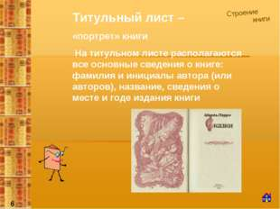 Строение книги Титульный лист – «портрет» книги На титульном листе располагаю