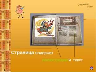 Строение книги Страница содержит иллюстрации и текст 9