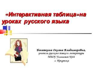 «Интерактивная таблица»на уроках русского языка Богаткина Оксана Владимировна