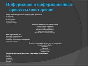 Информация и информационные процессы (повторение) Наибольший объем информации