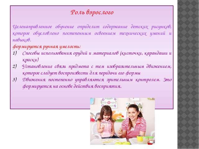 Роль взрослого Целенаправленное обучение определит содержание детских рисунко...