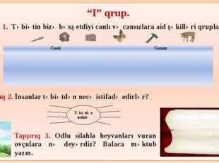 """""""I"""" qrup. Tapşırıq 1. Təbiətin bizə bəxş etdiyi canlı və cansızlara aid şəki"""