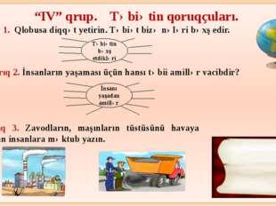 """""""IV"""" qrup. Təbiətin qoruqçuları. Tapşırıq 1. Qlobusa diqqət yetirin. Təbiət"""