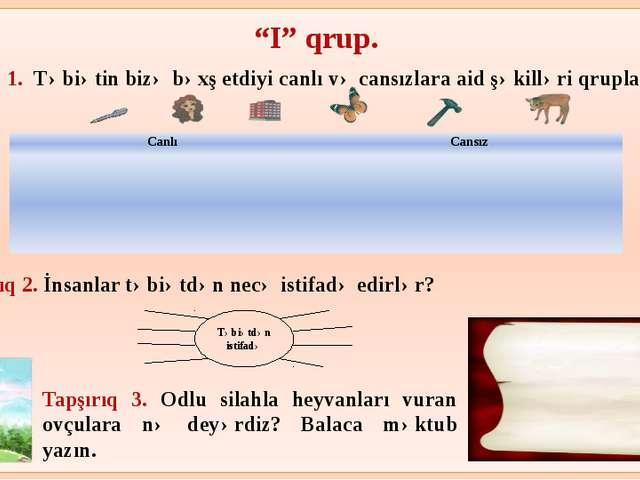 """""""I"""" qrup. Tapşırıq 1. Təbiətin bizə bəxş etdiyi canlı və cansızlara aid şəki..."""